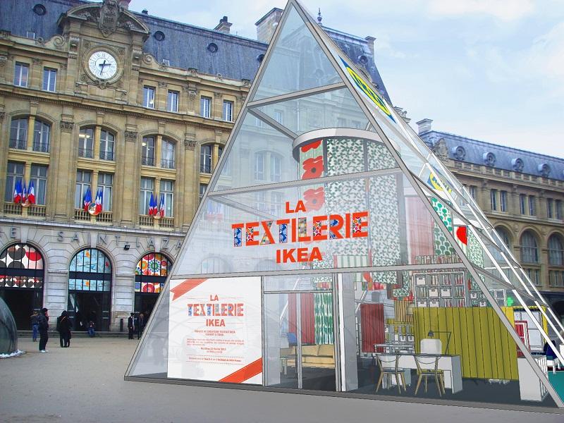 La textilerie ikea sur le parvis de la gare st lazare du 18 au 22 f vrier ikeaddict - Ikea cree sa chambre ...